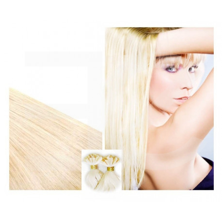 Extensions à chaud blond platine cheveux raides 73 cm