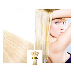 Extensions à froid blond platine cheveux raides 73 cm