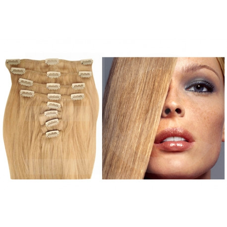 Extensions à clips blond cendré cheveux raides 53 cm