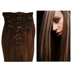 Extensions à clips chocolat méché blond clair cheveux raides 63 cm