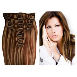 Extensions à clips châtain méché blond cheveux raides 63 cm