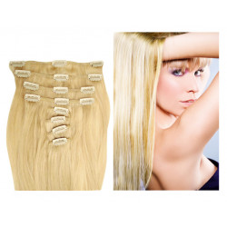 Extensions à clips blond clair cheveux raides 63 cm
