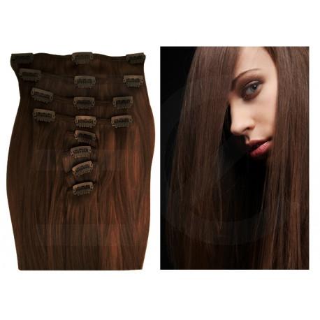 Extensions à clips chocolat cheveux raides 73 cm