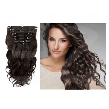 Extensions à clips brunes cheveux bouclés 53 cm