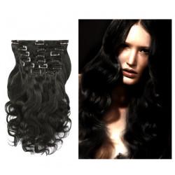 Extensions à clips noires cheveux bouclés 63 cm