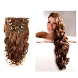 Extensions à clips châtain noisette cheveux bouclés 63 cm