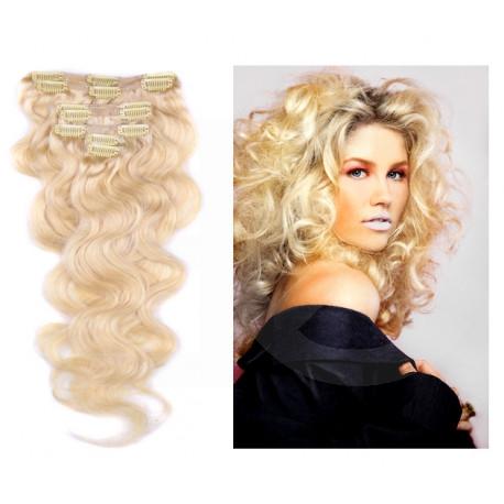 Extensions à clips blond clair cheveux bouclés 63 cm