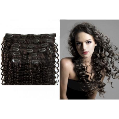 Extensions à clips brunes cheveux frisés 53 cm