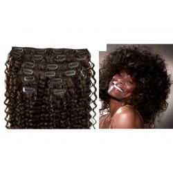 Extensions à clips châtain foncé cheveux frisés 53 cm