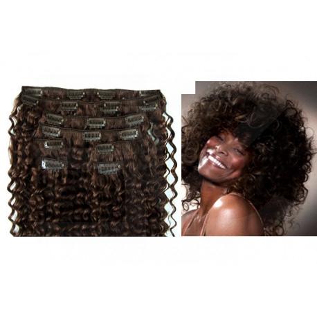 Extensions à clips châtain foncé cheveux frisés 63 cm