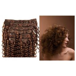 Extensions à clips châtain noisette cheveux frisés 63 cm