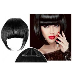 Frange à clips noire cheveux naturels