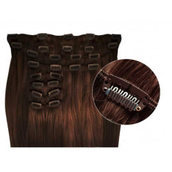 Extensions à clips cheveux synthétiques chocolat extra volume 63 cm