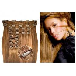 Kit extension de cheveux à clips naturel châtain 8 luxe 100% volume 180 Gr. 63 cm