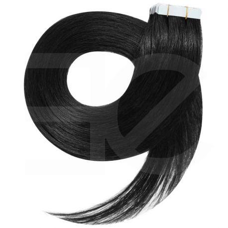 Extensions adhésives / Tape noir n°1 cheveux 100% naturels 73 cm