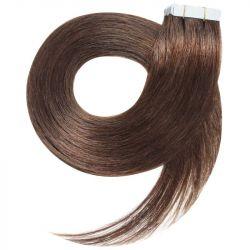 Extensions adhésives châtain noisette cheveux raides 73 cm