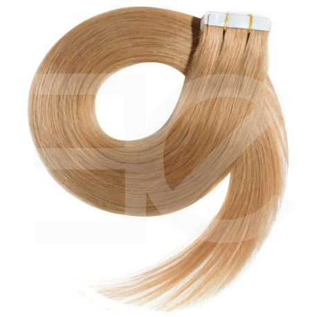 Extensions N°14 (Blond doré) cheveux 100% naturels adhésives / Tape 63 cm