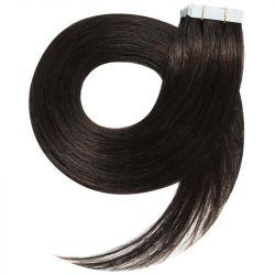 Extensions n°1B (brun) cheveux 100% naturels adhésives / Tape 63 cm