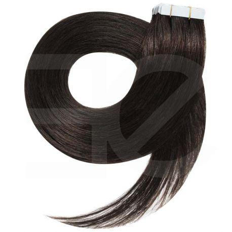 Extensions adhésives / Tape brun n°1b cheveux 100% naturels 73 cm