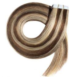 Extensions adhésives chocolat méché blond clair cheveux raides 50 cm