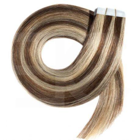 Extensions adhésives / Tape chocolat méchées blond clair n° 4.613 cheveux 100% naturels 63 cm