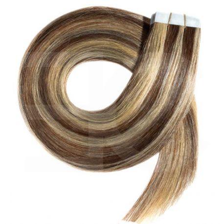 Extensions N°8.22 (CHATAIN MÉCHÉ BLOND) cheveux 100% naturels adhésives / Tape 63 cm