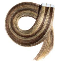 Extensions adhésives châtain méché blond cheveux raides 50 cm