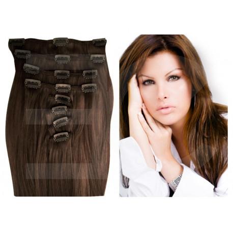 Extensions à clips châtain noisette cheveux raides 63 cm