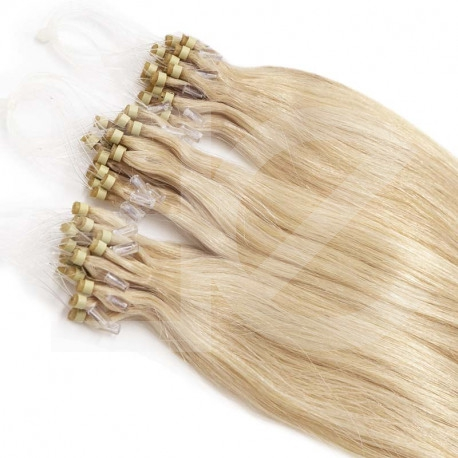Extensions à loops blond clair cheveux raides 48 cm