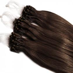 Extensions à loops chocolat cheveux raides 48 cm