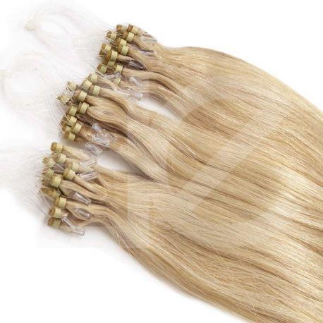 Extensions à loops blond cendré cheveux raides 48 cm