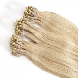 Extensions à loops blond clair cheveux raides 61 cm
