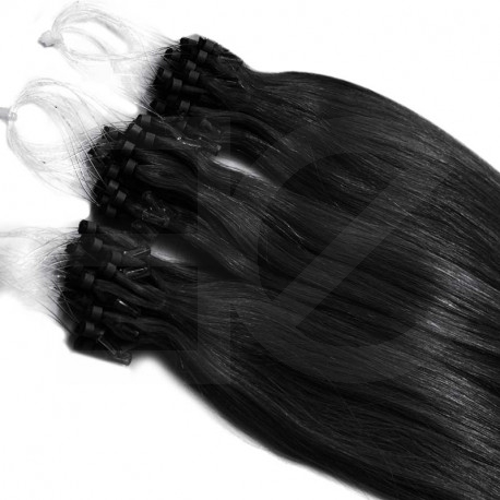 Extensions à loops noires cheveux raides 48 cm 0.85 Gr