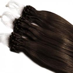 Extensions à loops châtain foncé cheveux raides 48 cm 0.85 Gr