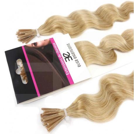 Extensions à froid blond clair cheveux frisés 60 cm
