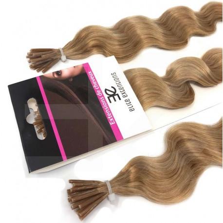Extensions à froid blond doré cheveux frisés 60 cm