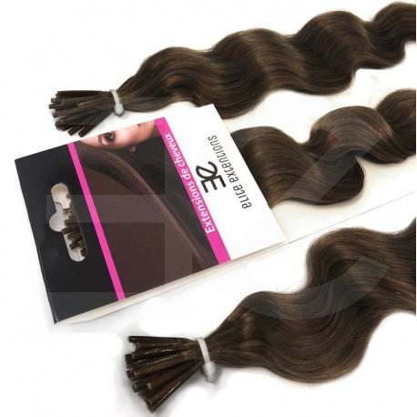 Extensions n°6 (chatain) cheveux frisés 100% naturels à froid 60 cm