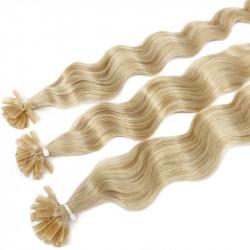 Extensions n°613 (Blond clair) cheveux 100% naturels à chaud 50 cm Bouclé/ondulé