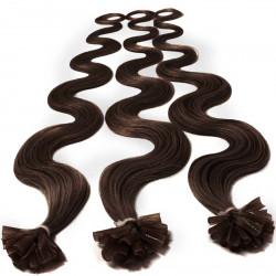 Extensions à chaud chocolat cheveux bouclés 50 cm