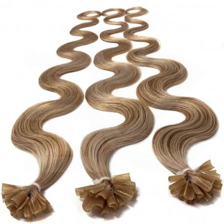 Extensions à chaud blond doré cheveux bouclés 63 cm