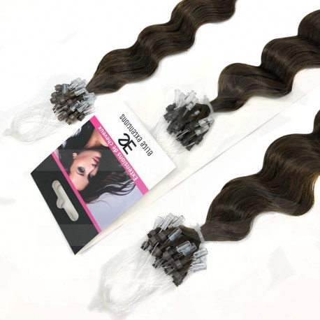 Extensions à loops châtain foncé cheveux frisés 61 cm