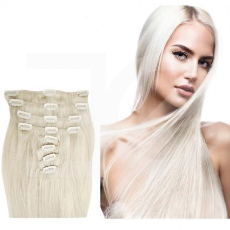 Extensions à clips blond polaire raides 63 cm