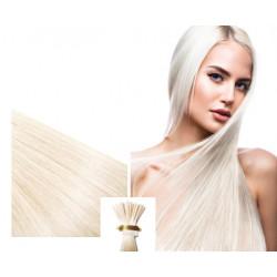 Extensions à froid blond polaire cheveux raides 50 cm