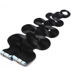Extensions adhésives noires cheveux ondulés 48 cm