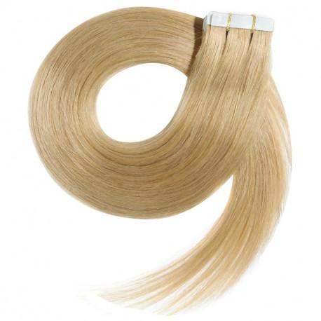 Extensions adhésives blond cendré cheveux raides 50 cm