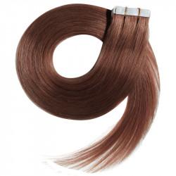 Extensions adhésives auburn cheveux raides 50 cm