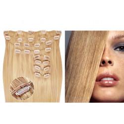 Extensions à clips blond cendré volume luxe 180 Gr. Cheveux raides 63 cm
